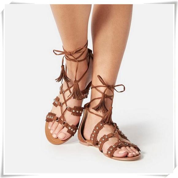 51cef6eb50f0 Flat Boho Fringe Gladiator Lace Up Tassels Sandals